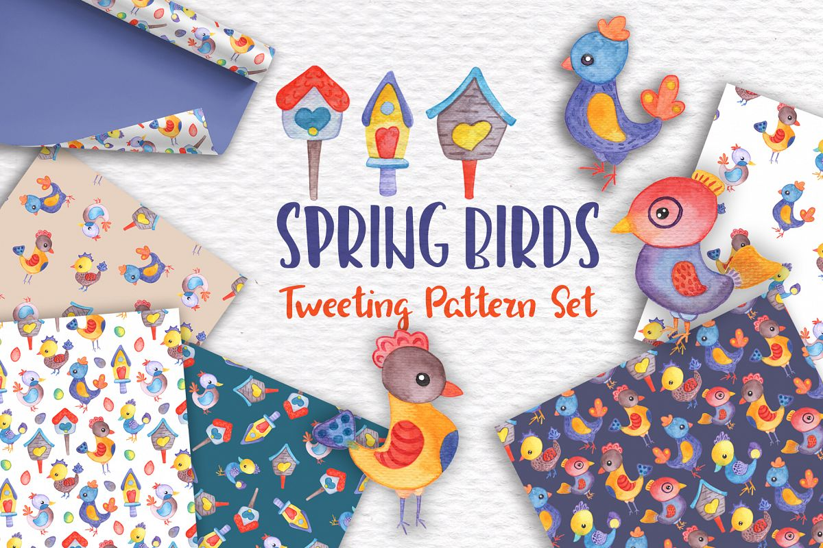 Watercolor Birds Spring Pattern Set example image 1