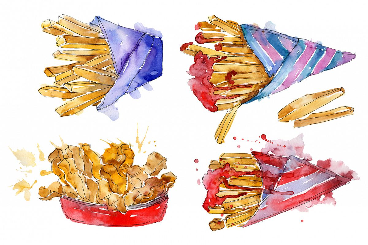 French fries Watercolor png example image 1
