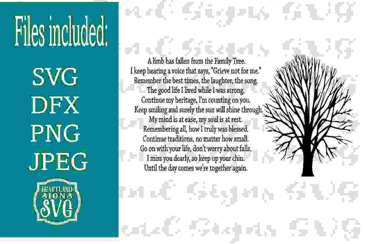 A Limb Has Fallen From Our Family Tree Sympathy SVG example image 1
