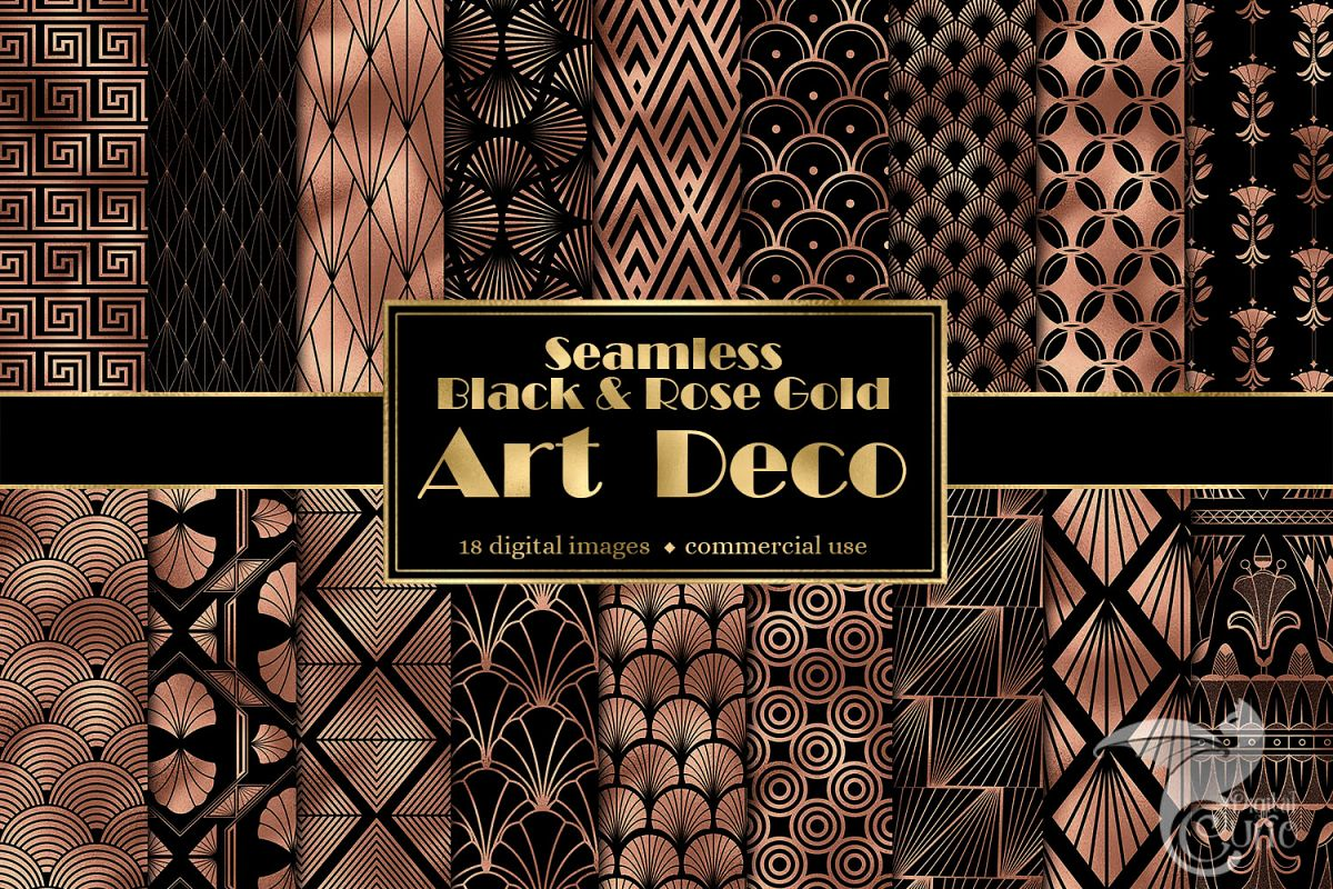 Black and Rose Gold Art Deco Digital Paper example image 1