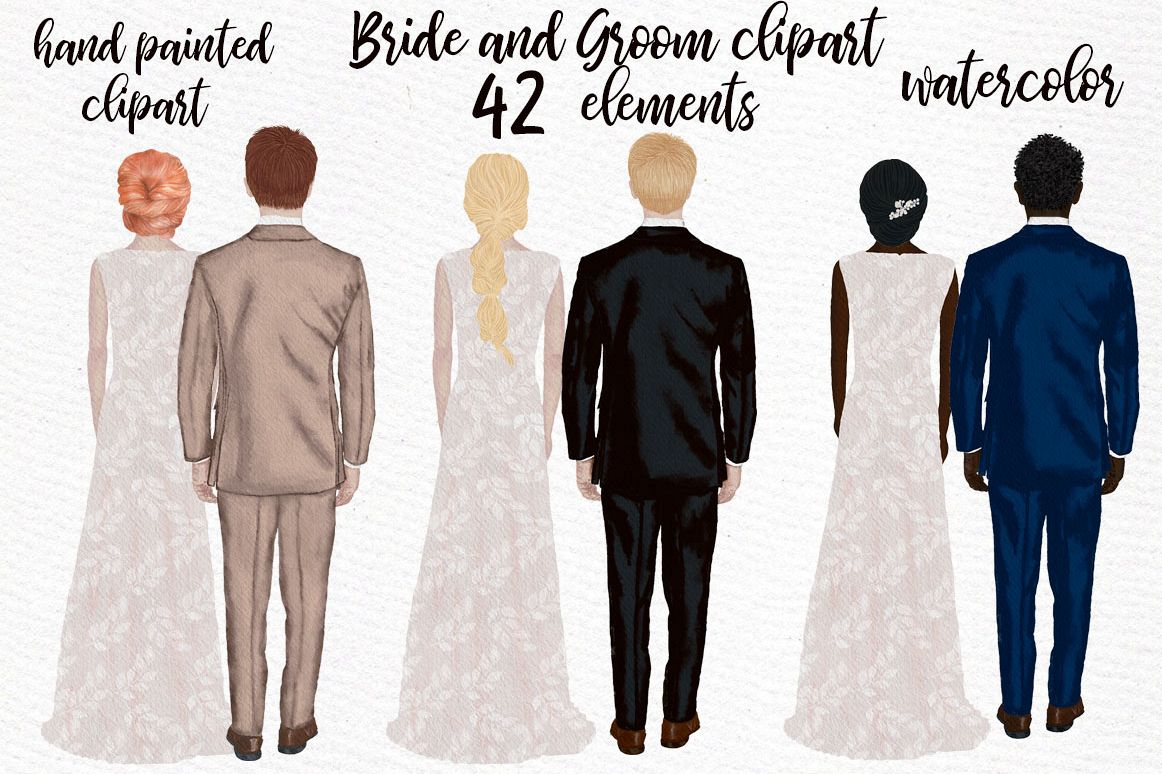 Bride and Groom clipart Wedding Clipart Wedding illustration example image 1