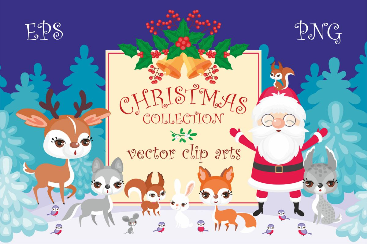 Christmas collection. Cute animals and Santa. example image 1