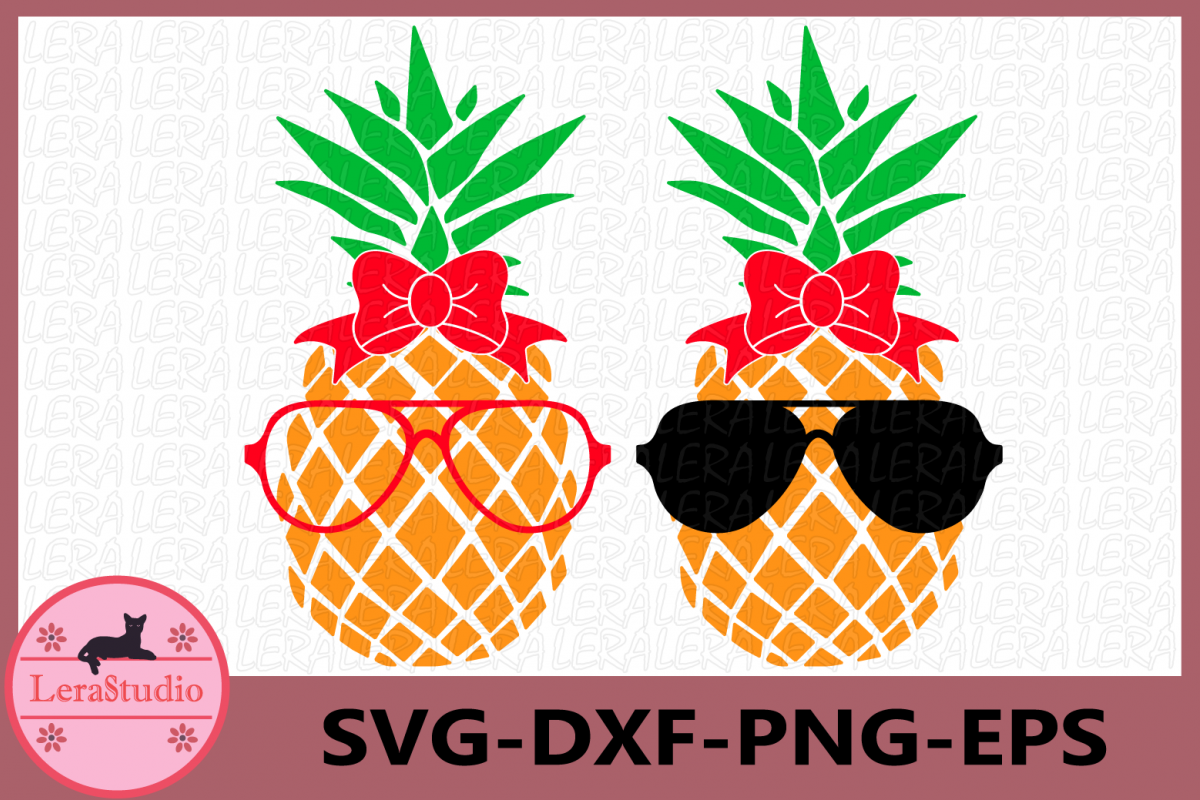 Pineapple with glasses SVG, Pineapples SVG, cut files example image 1