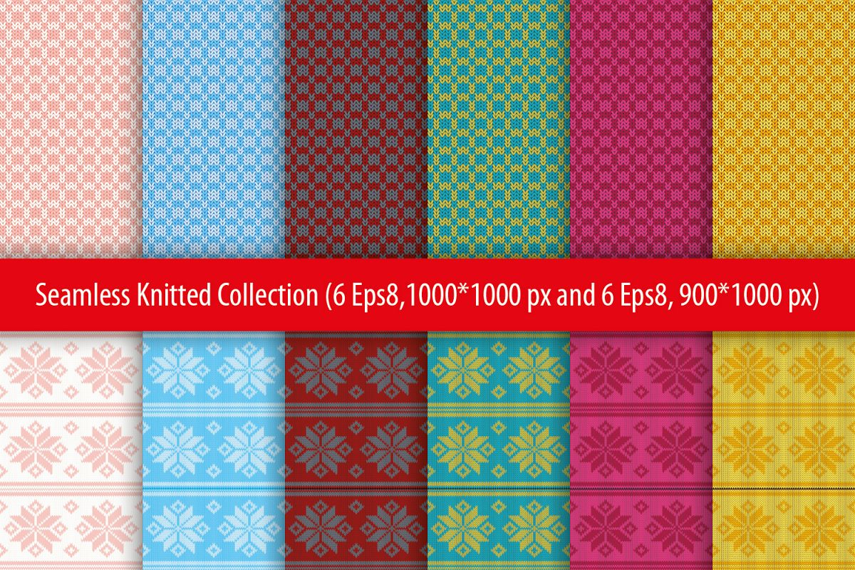 Set of 12 seamless knitted backgrounds. example image 1