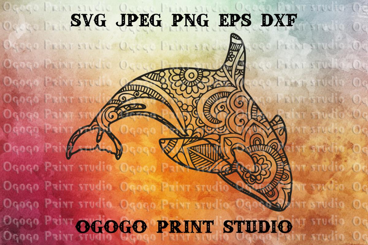 Killer Whale SVG, Orca svg, Zentangle SVG, Sea animal SVG example image 1