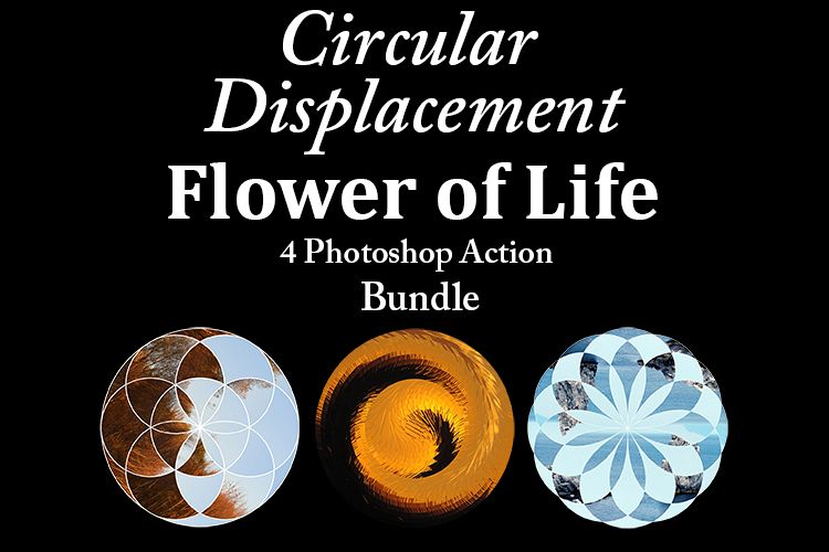Flower of Life - 4 Photoshop Circular Dispalcement Actions example image 1