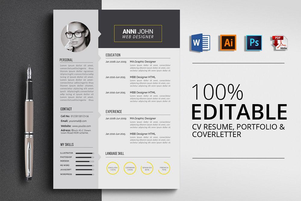 creative design cv resume word