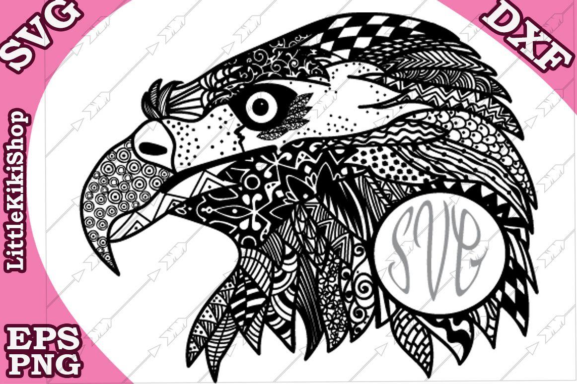 Zentangle Monogram Eagle Svg, Mandala Eagle Svg,Eagle vector example image 1