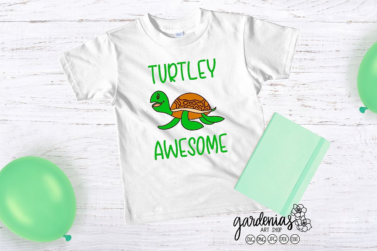 Turtley Awesome SVG | Turtle Cut File | Reptile Clip Art example image 1
