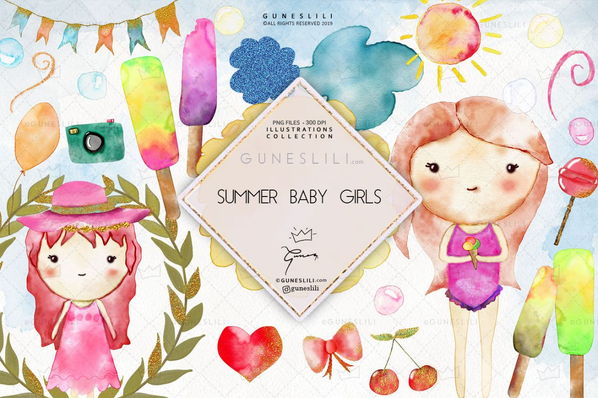 Watercolor Baby Girl Summer Clipart Baby Nursery Graphics example image 1
