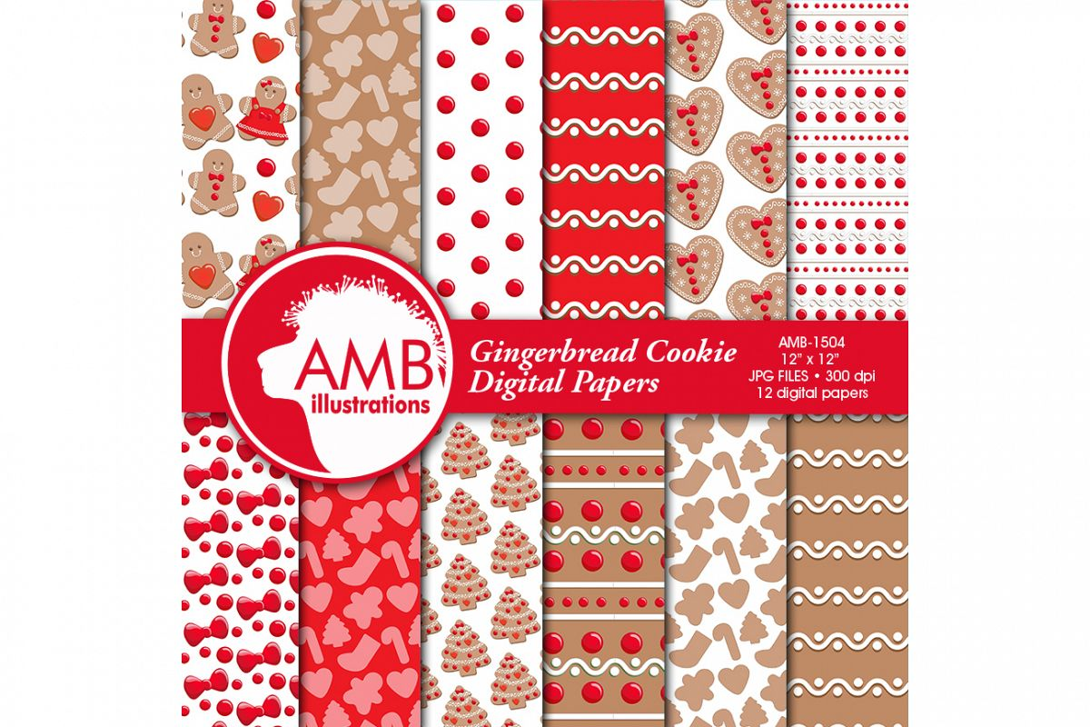 Christmas papers, Cookie papers, patterns, scrapbooking AMB-1504 example image 1