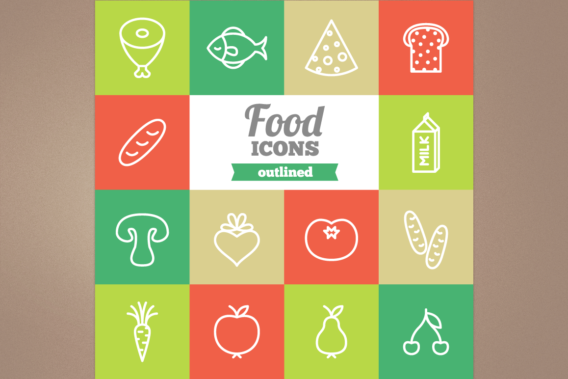 Outlined Food Icons example image 1
