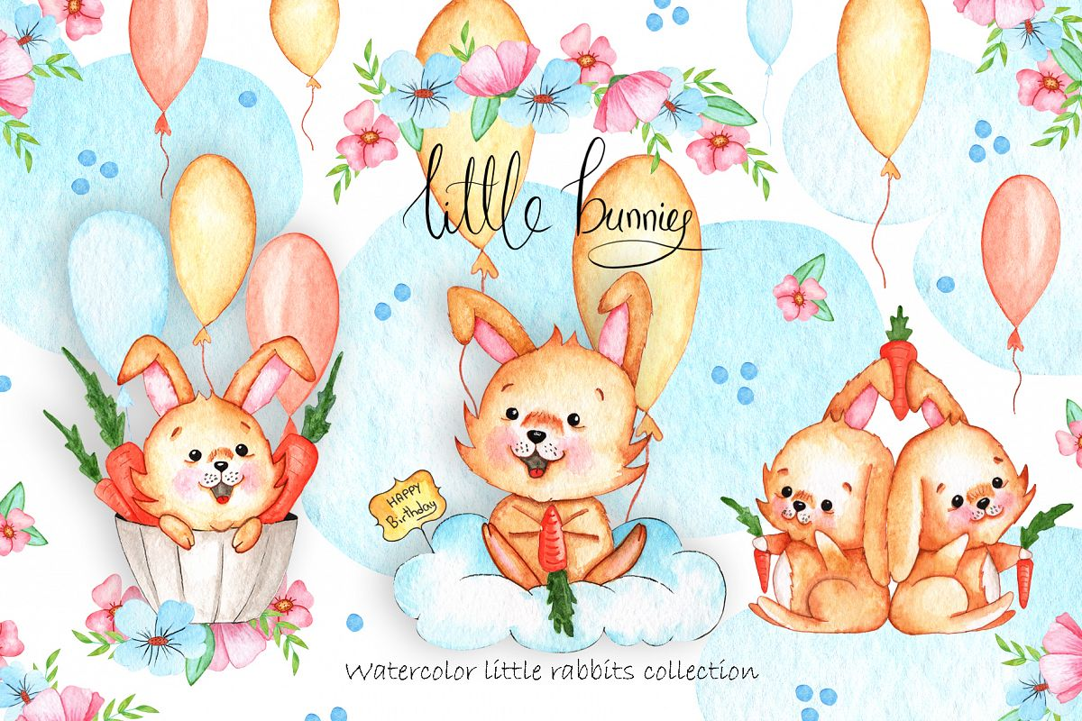 Watercolor Little Bunnies Illustrations example image 1