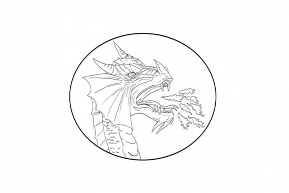 Dragon Fire Circle Drawing example image 1