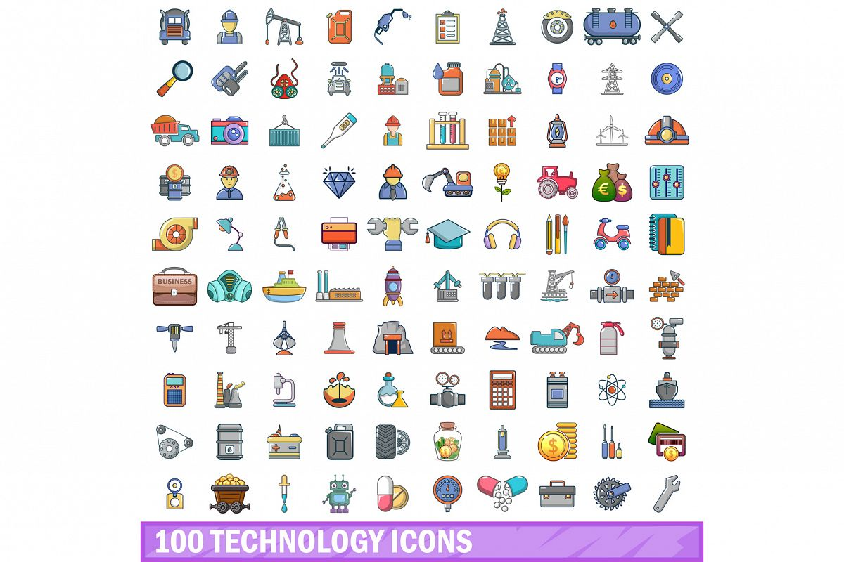 100 technology icons set, cartoon style example image 1