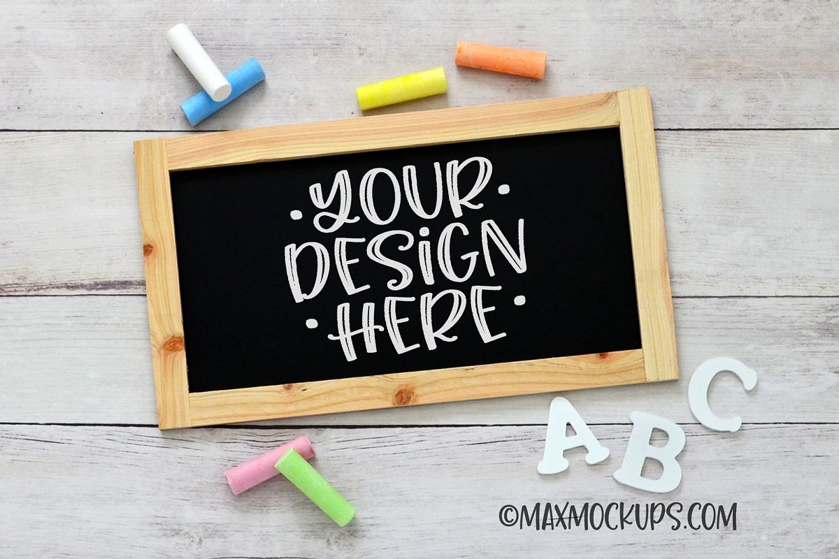 Chalkboard sign mockup, framed rectangle, kids, chalk, abc's example image 1