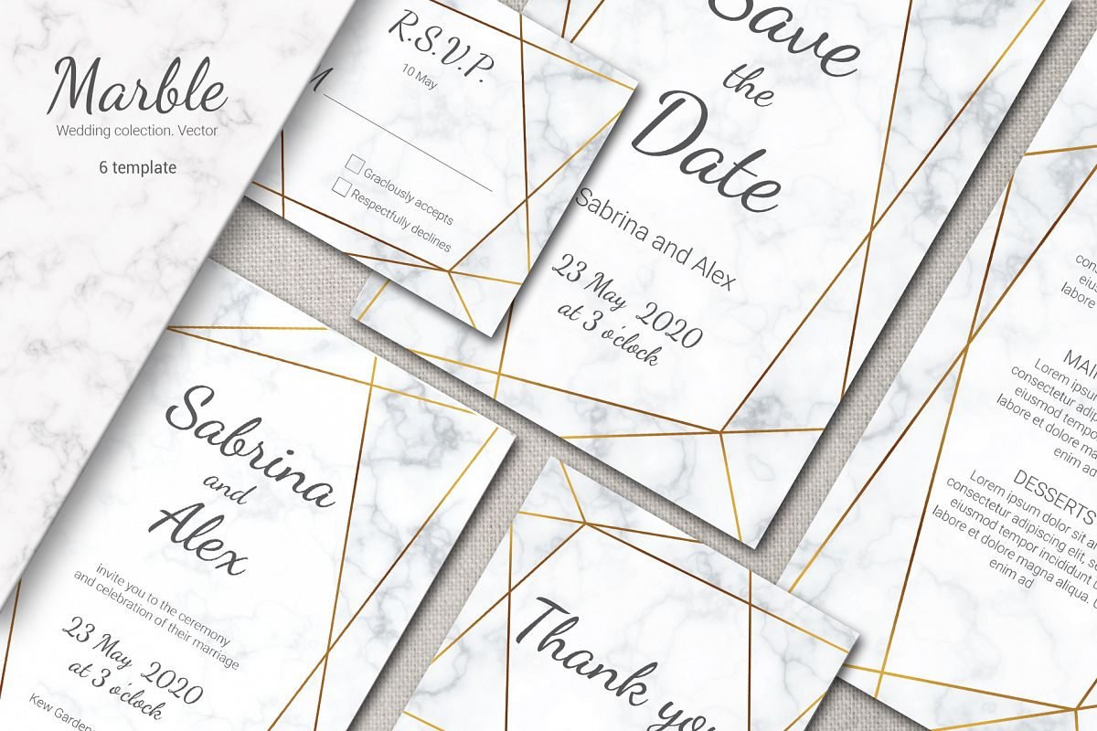 Marble wedding invitation suite. Vector example image 1