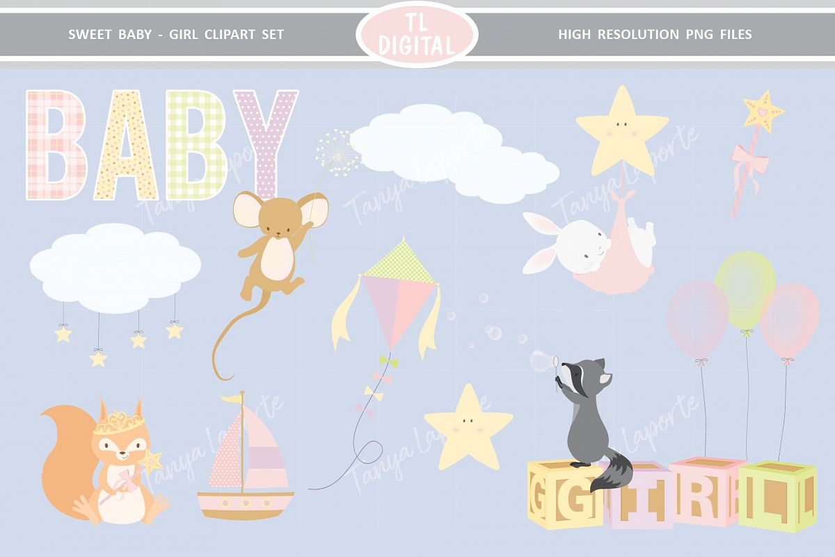 Sweet Baby Girl Clipart Set - 26 Baby themed Graphics example image 1
