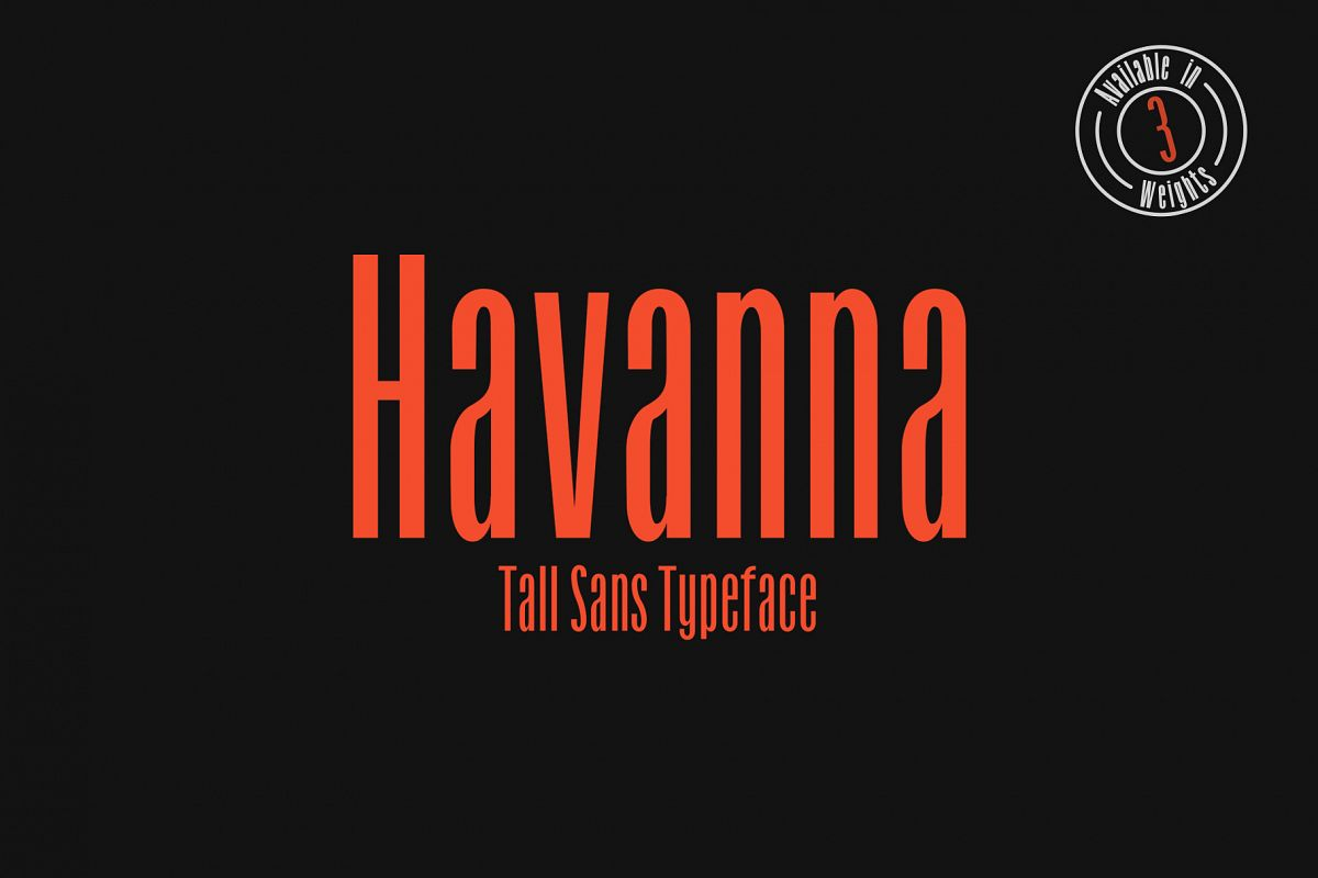 Havanna - Tall sans typeface with 3 weights example image 1