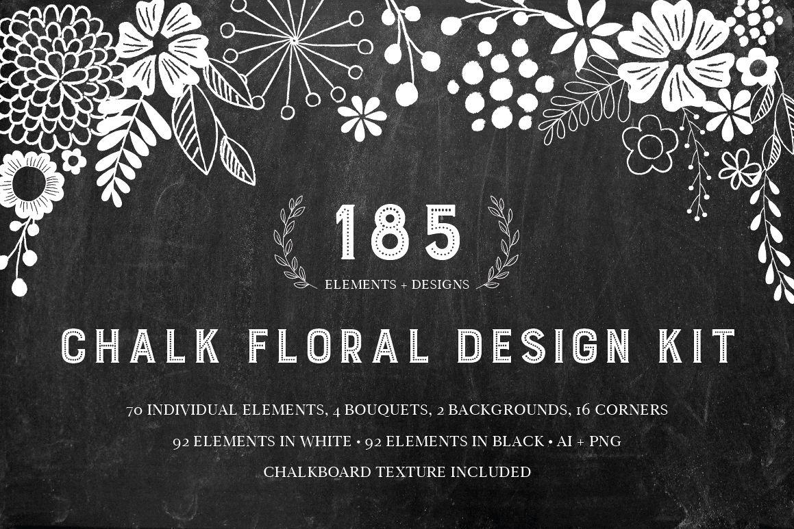 chalkboard floral design kit ai png