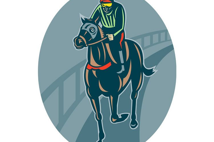 Horse and jockey racing race track example image 1