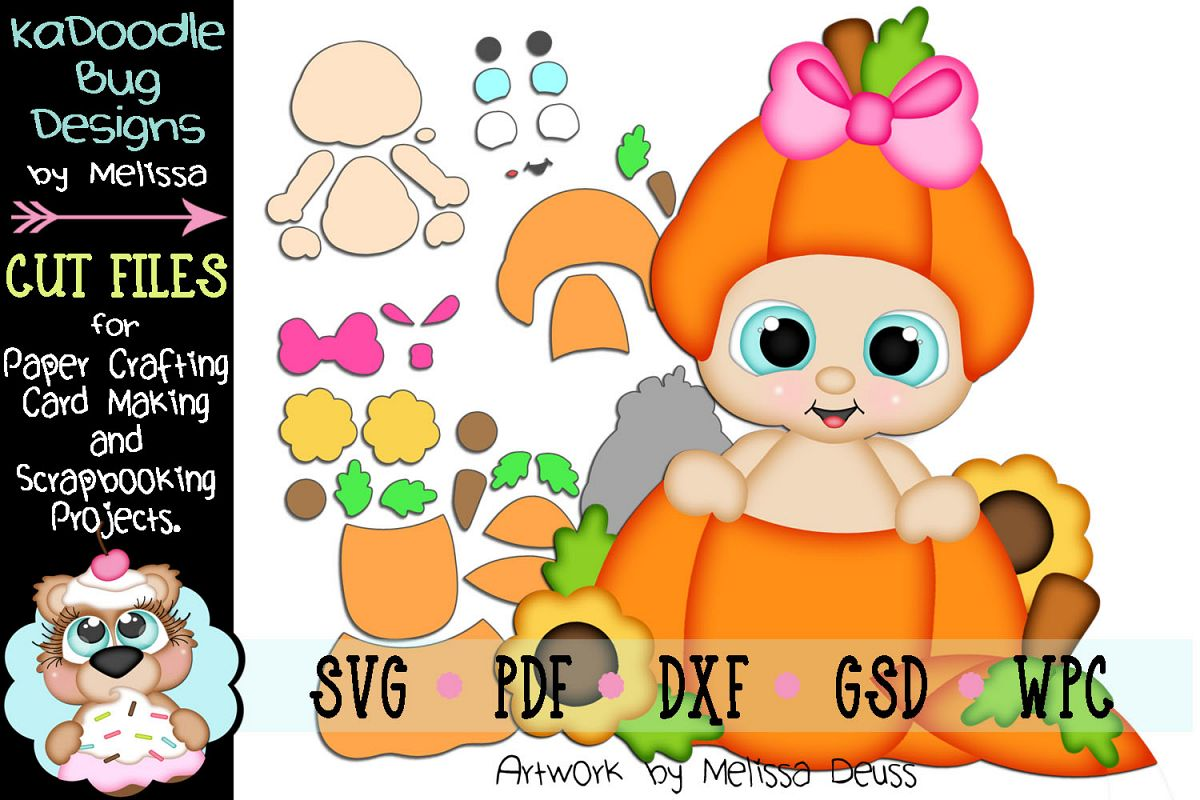 Fall Pumpkin Girl Peeker Cut File - SVG PDF DXF GSD WPC example image 1