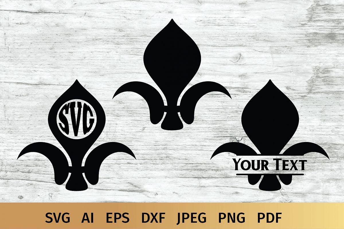Fluer de Lis Monogram SVG example image 1