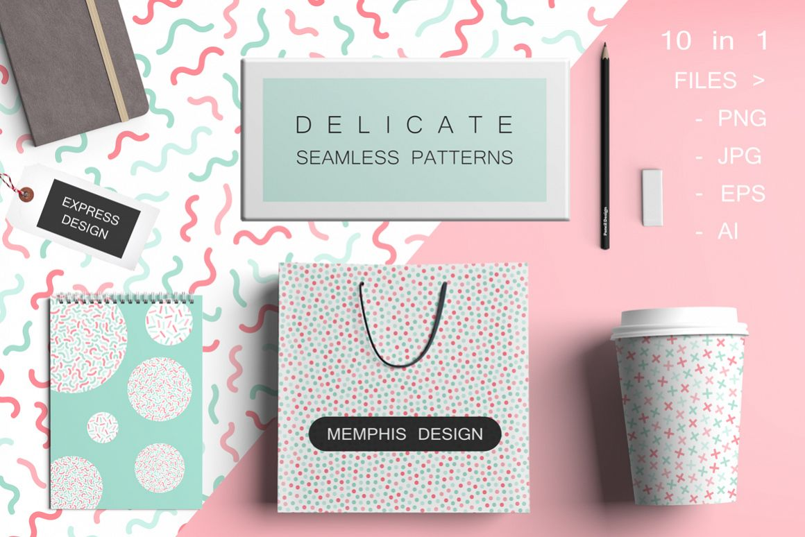 Delicate seamless color patterns set example image 1