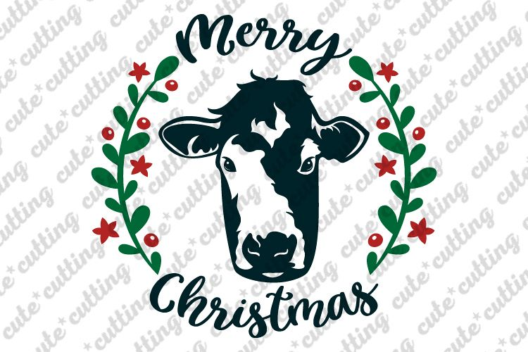 Christmas Cow.Christmas Cow Cow Face Merry Christmas Svg Dxf Png Jpeg