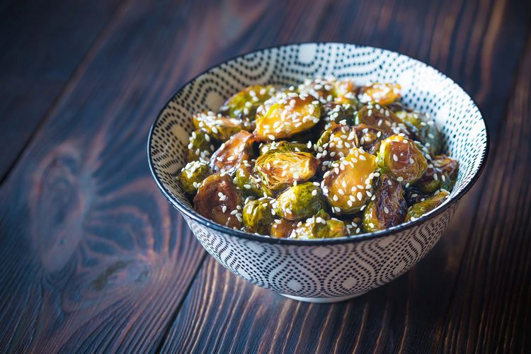 Bowl of roasted teriyaki brussels example image 1