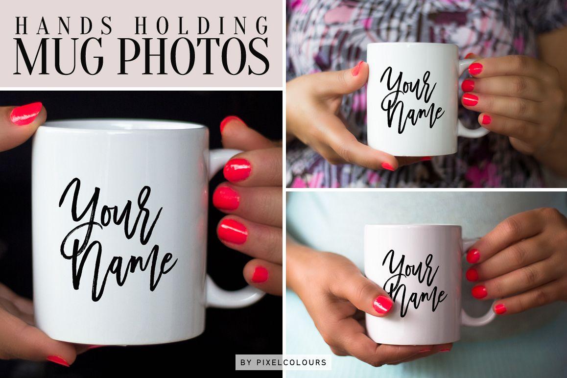 Hands Holding Mug Mockup Bundle example image 1