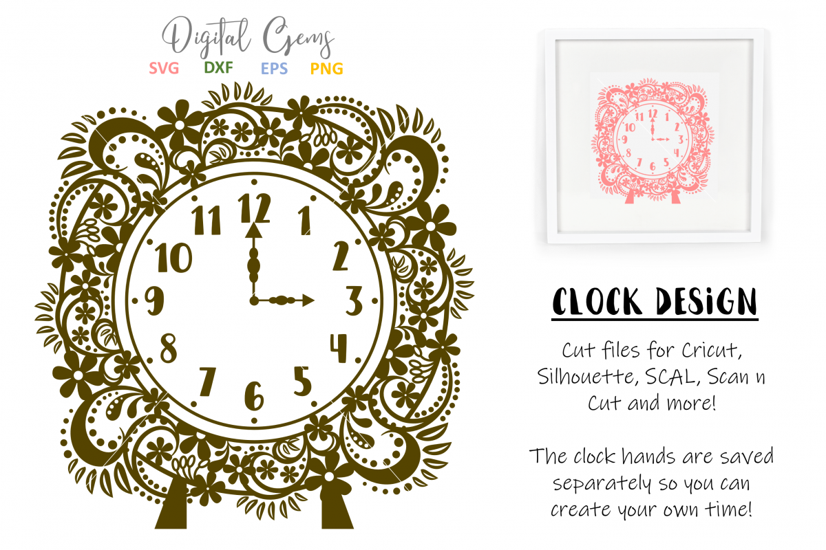 Clock SVG / EPS / DXF / PNG Files example image 1
