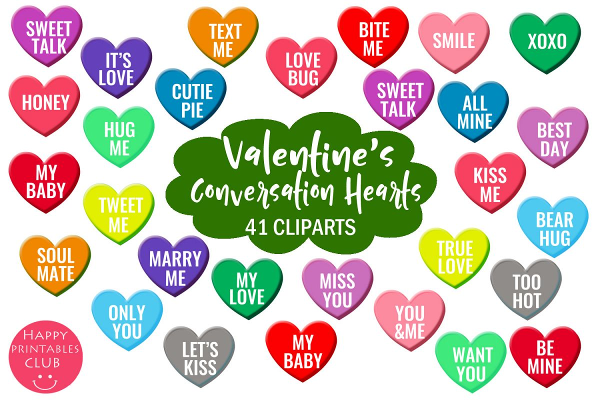 Valentine's Conversation Hearts Cliparts-Love Hearts example image 1