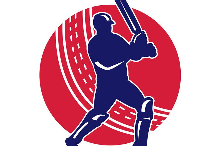 cricket sports batsman batting retro example image 1