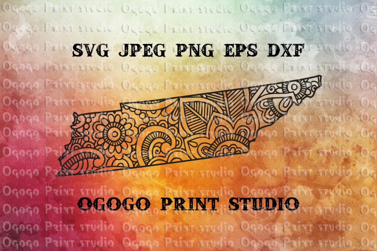 Tennessee SVG, Map Zentangle SVG, Mandala svg, Travel example image 1