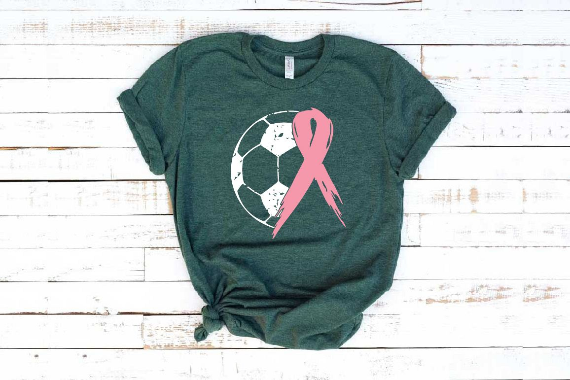 Soccer Tackle Breast Cancer Svg Awareness ribbon 1068s example image 1