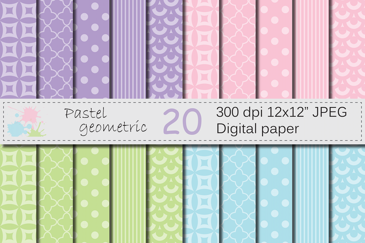 Pastel pink, purple, blue, green geometric digital papers example image 1