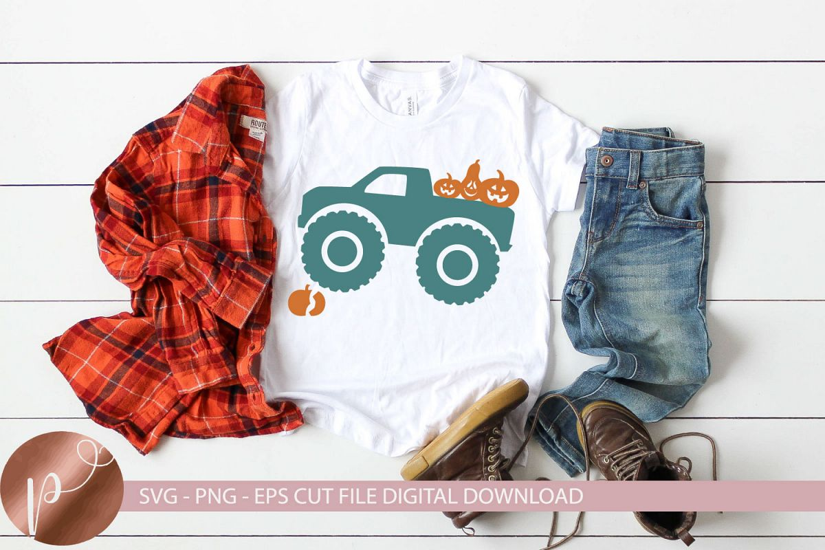 Fall Monster Truck Svg Png Eps Halloween Tshirt Design example image 1