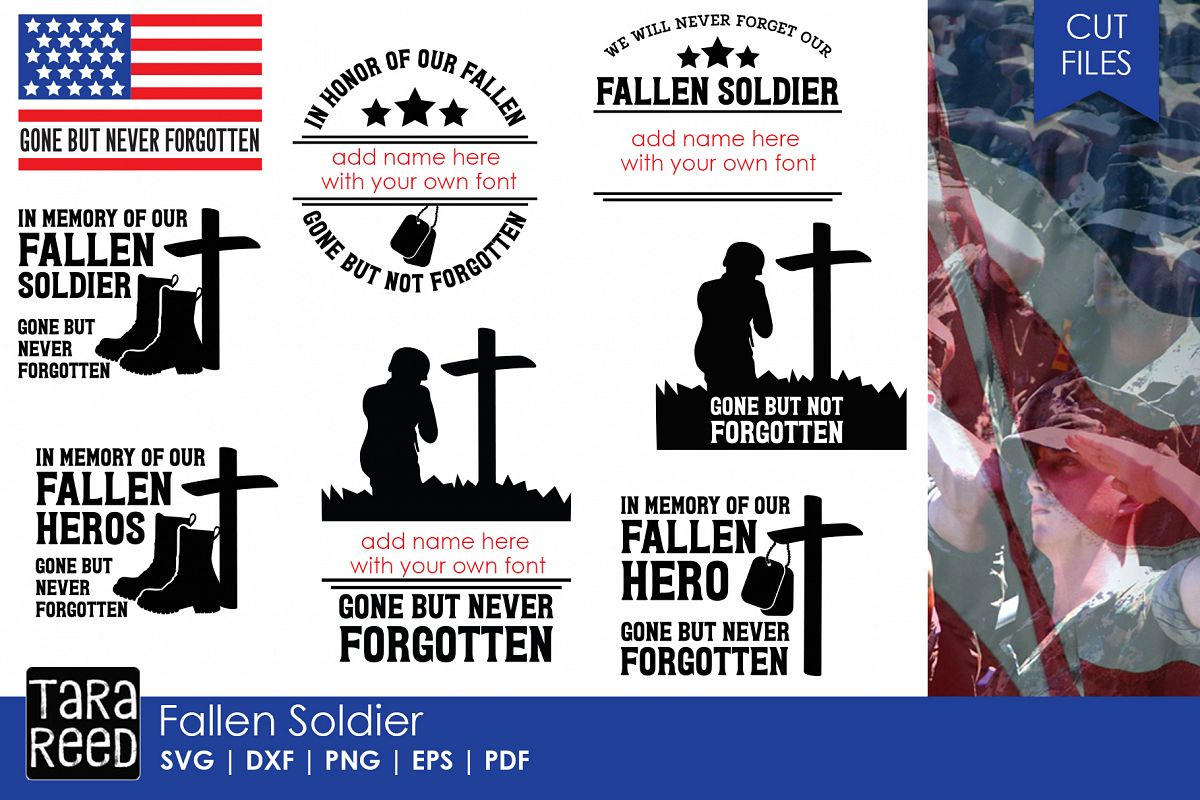 Fallen Soldier - Military SVG and Cut Files for Crafters example image 1