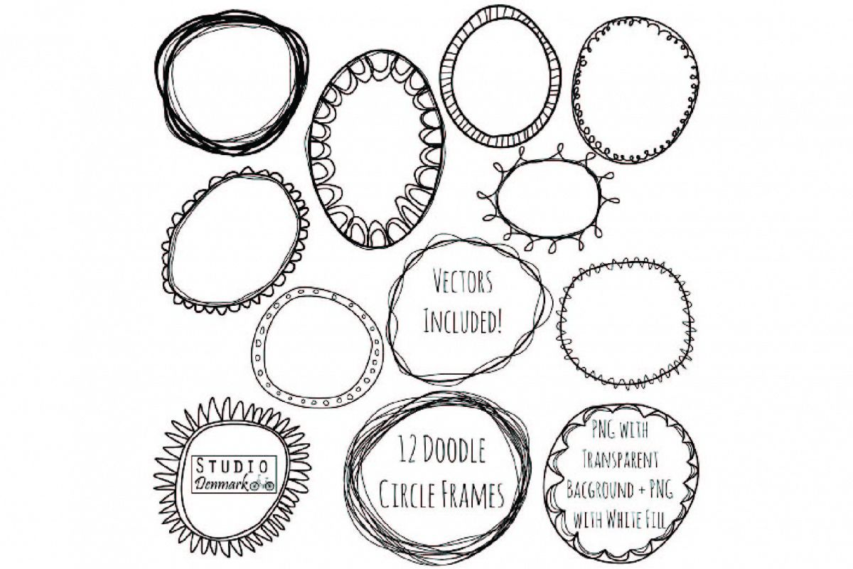 Doodle Circle Frames Clipart and Vector Set