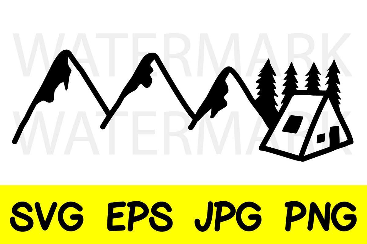 Mountain Pine Tree and Cabin in the wood - SVG-EPS-JPG-PNG example image 1