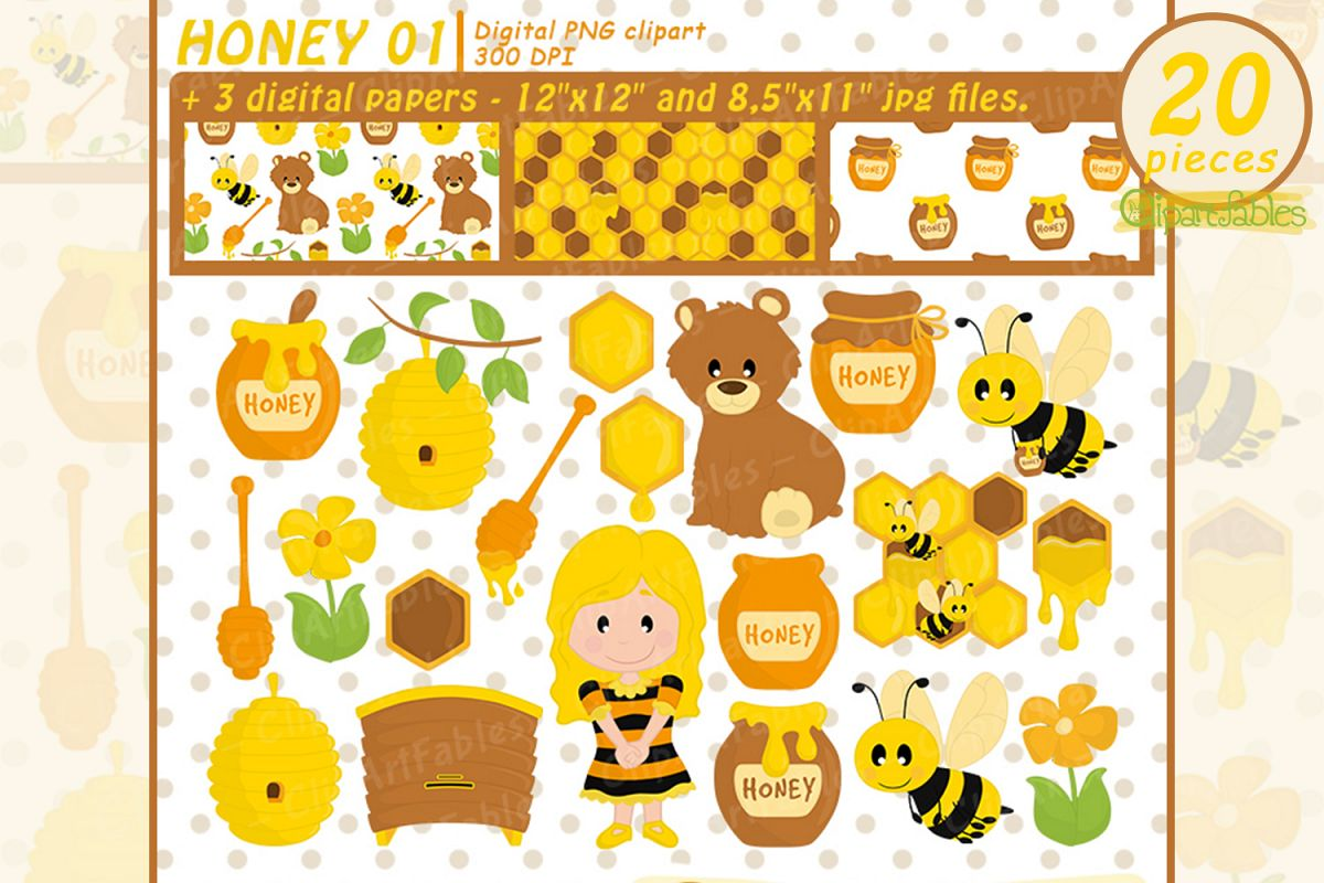 Bee Clipart Set, Honey art, Bumble Bee and DIGITAL papers example image 1