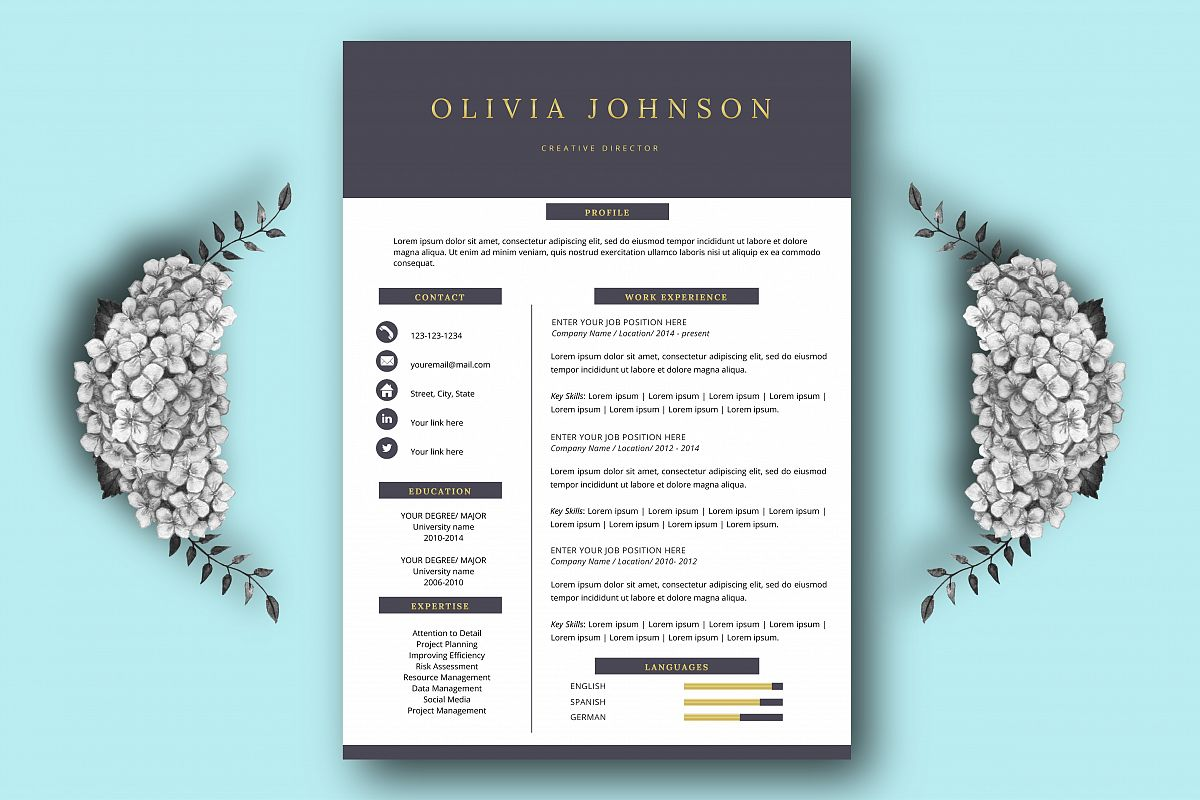 Resume template, one page resume