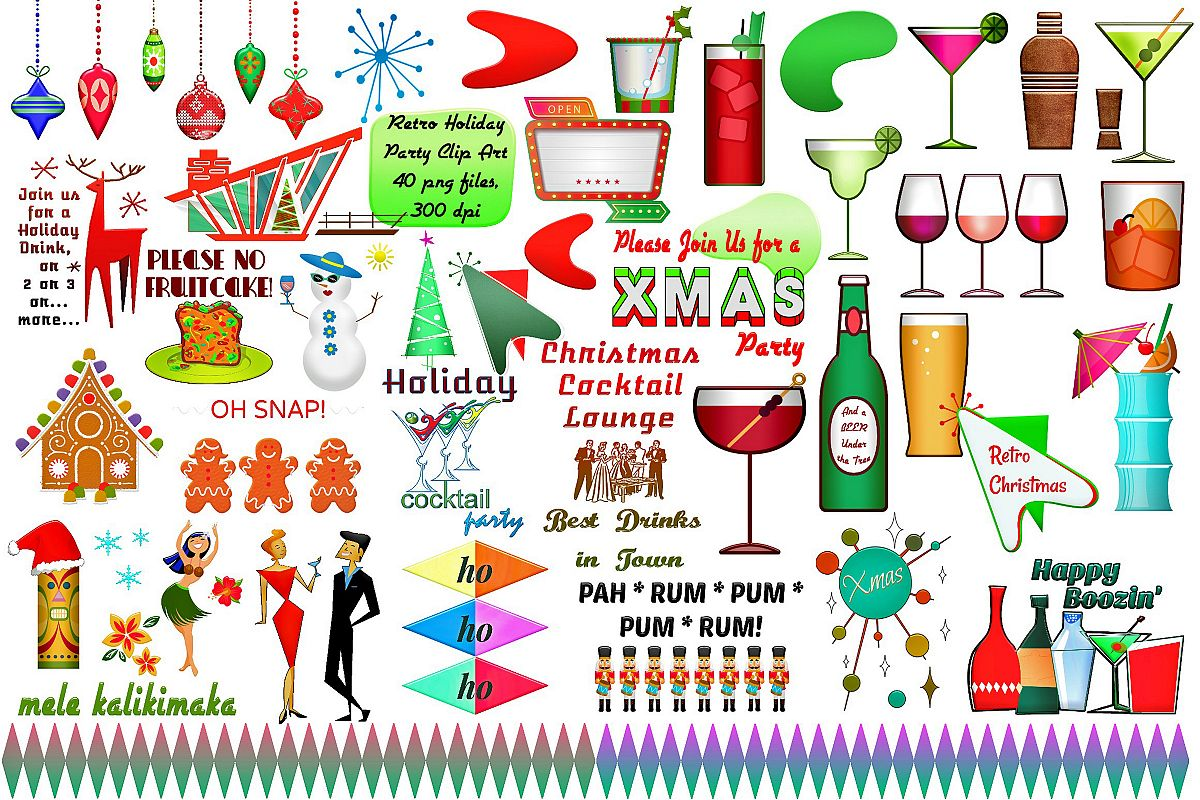 Christmas Party Images Clip Art.Mid Century Retro Christmas Party Clip Art Atomic Age