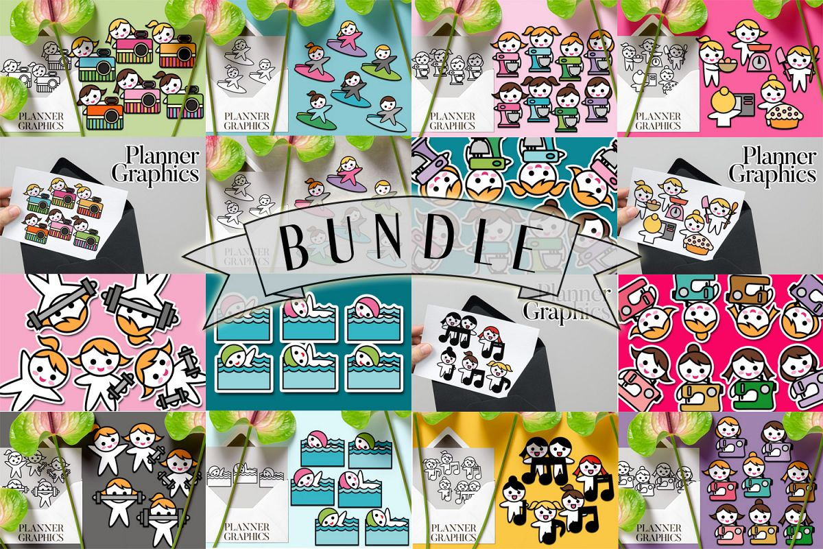 Hobby illustrations bundle - planner sticker graphics example image 1