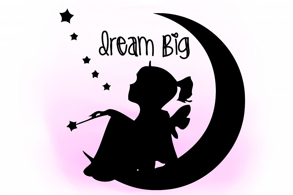 Dream Big SVG Clipart Little Girl Quote Word Art Digital Cutting File Decal