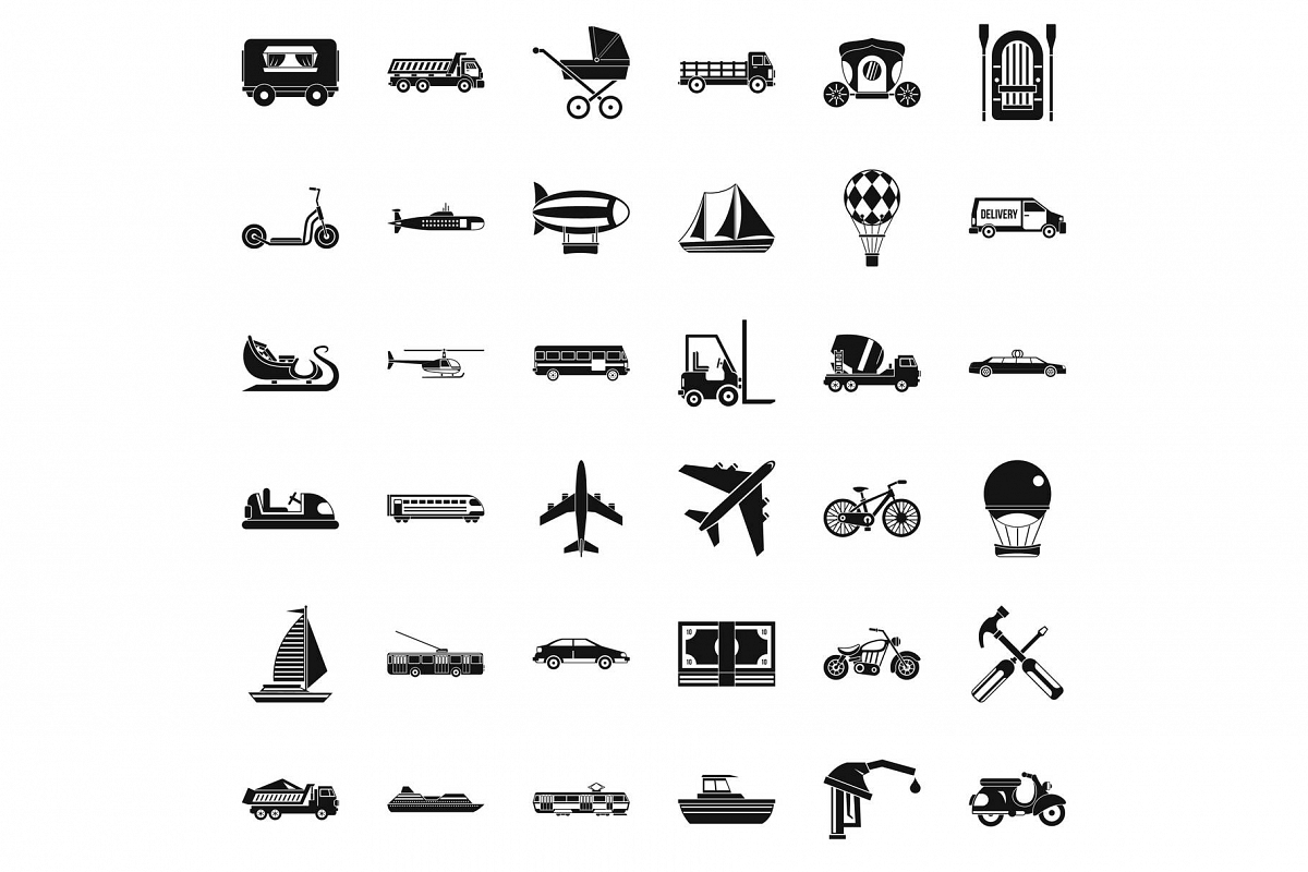 Flying transport icons set, simple style example image 1