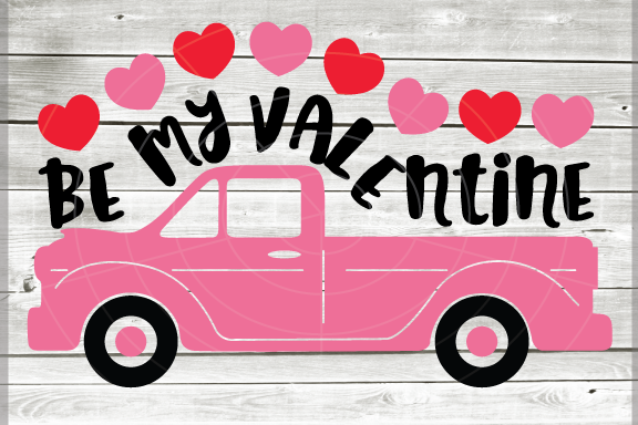 Valentine truck WITH HEARTS svg - Be my valentine truck SVG example image 1