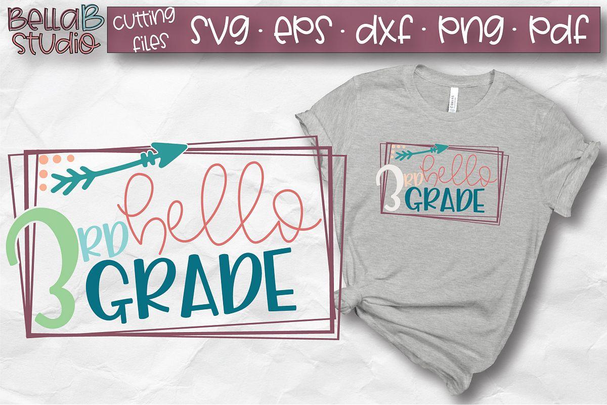 Hello 3rd Grade SVG, Third Grade, Kids, School SVG, Grade 3 example image 1