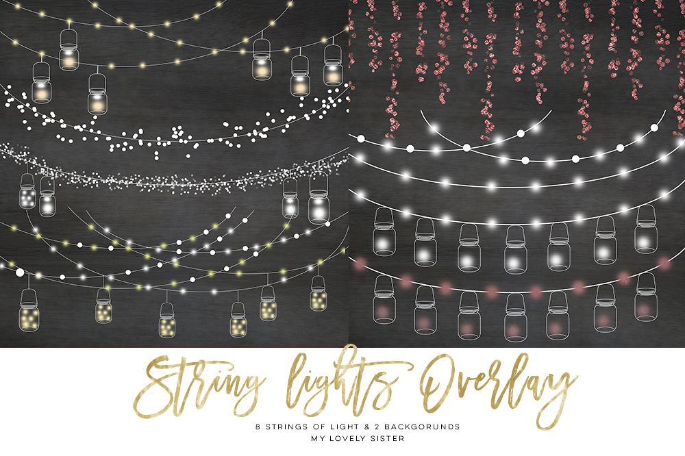 String Lights Clipart Mason Jar Chalkboard Party Example Image